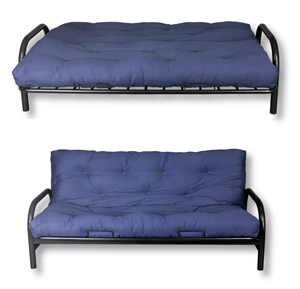 The blue futon is open in the top picture and in the seating positon in the lower pictures.