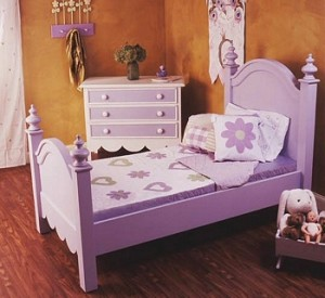 This is just one of the options for a twin bed purchased from the thrift store. Do not be afraid to use colors. They can always be changed.
