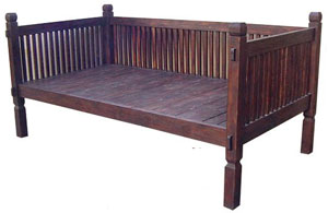 This daybed frame is a good example of the three sided bed that can be used as a sofa.