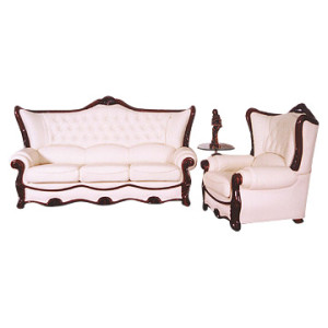 Wood frame upholstered sofa and chair