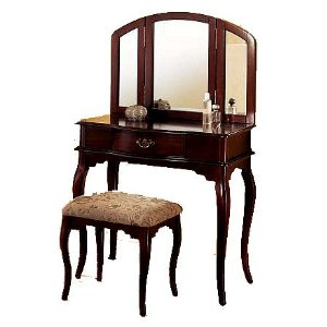 This Is An Example Of An Updated Queen Anne Style Dressing Table With Bench  And Mirror. The Queen Anne Styling Has Definitely Been Updated For A More  ...