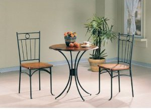 Metal and Wood Bistro Set