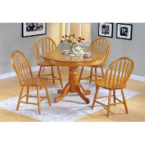 Round country kitchen table and chairs