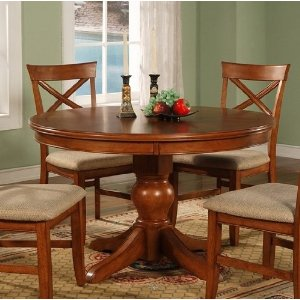 "contemporary design walnut finish 48"" round dining table 